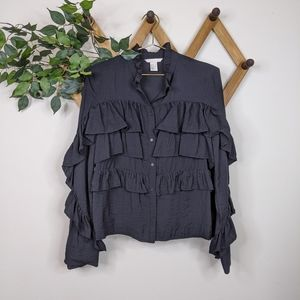 H&M Ruffle Tiered Long Sleeve Button Down Blouse
